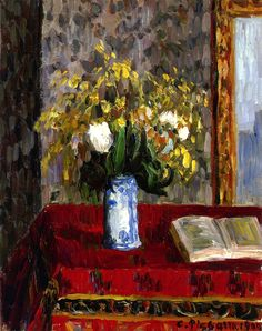 Vase of Flowers, Tulips and Garnets / Camille Pissarro - 1900
