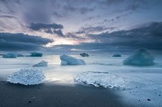 Iceburgs washed ashore in Iceland