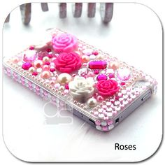 Items similar to Apple iPhone 4 G S 4GS 4S 4G 4 Gen 4th Generation BLING Back Case: Rhinestone Snap on Crystal Hard Skin Case Cover (Pink Rose) on Etsy