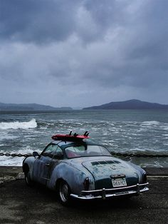 This was my first car! a 1958... Karmann Ghia (although mine was w/out Surfboard) LOVE