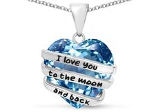 """Star K Heart Shape 15mm Simulated Aquamarine """"I Love You To The Moon And Back"""" Pendant Necklace"""
