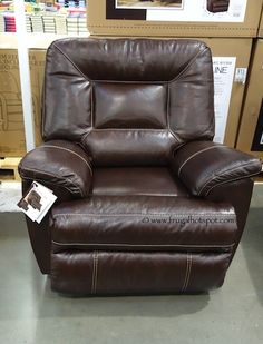 Comfy. Berkline Tullran Leather Rocker Recliner. #Costco #FrugalHotspot