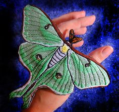 This luna moth patch is measures 6 inches wide X 4.85 inches tall  A very popular moth, for those who want to look smart and pretty. A must have for fellow bug lovers! :)   Can be display in a frame or iron it one to anything you own... a much more bug friendly product than killed bug in display boxes. All patches are made by me. Some of the proceeds go to wildlife conservation programs. Iron-On 100% Embroidered Patch   Spider Stitches Embroidery Item Guidelines:  Add a patch to give any ite...