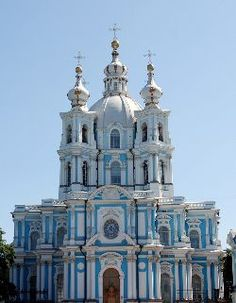 The beautiful Smolny Cathedral. St Petersburg Russia