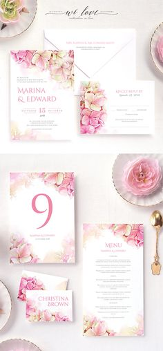 Pink Watercolor Hortensia -  Personalised wedding invitation suite Hydrangea Shine with elegant and tender botanical watercolor illustration in peach blush and pink colors. Wedding invitation, RSVP card  and everything you need for a perfect reception. Unique wedding stationery design from wilove.boutique