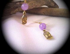 Gold Jade Buddha Earrings- Lavender Jade Buddha Earrings- Lavender Jade- Gold Buddhas- Mother's Day