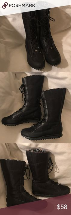 db642358e87f4 Adidas Trefoil Black Mid-Calf Lace-up Boots Sz 9 Very nice preowned  condition