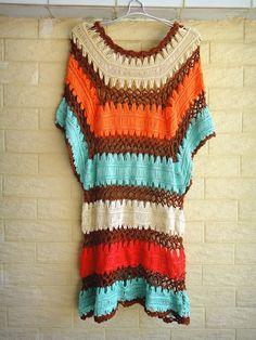 boho crochet stripped dress