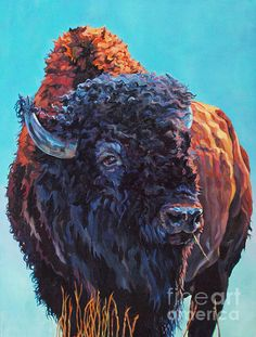 Patricia A Griffin,bison,mammal,buffalo,big game,North America,nature,wildlife,wildlife art,painting,art,Griffin