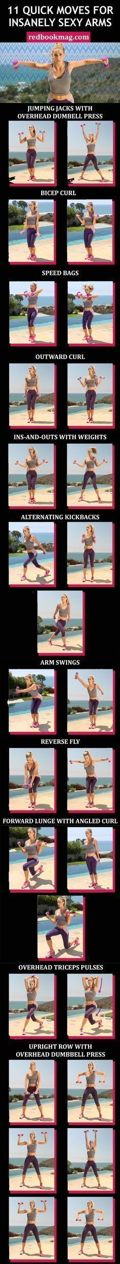 SEXY ARM WORKOUT FOR WOMEN: Grab a set of 2- to 3-pound dumbbells, and do 20 to 30 reps of each move in quick succession to tone your arms, back, chest, and legs. Repeat the entire sequence two to three times to get toned arms fast! Click through for the  http://amzn.to/2rJPSll