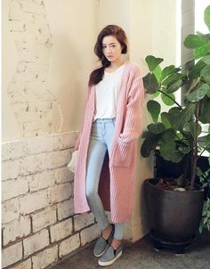 Long coat knit sweater
