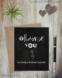 Set Of 5 - Printable Chalkboard Teacher Appreciation Cards - Thank You Teacher - E-Cards - Instant Download - Digital Art - DIY Cards