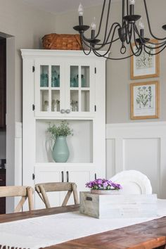 Have awkward corners in your home? Fill it with a charming and functional DIY corner cabinet. Click over to see more! White Corner Cabinet, Corner Hutch, Corner Cupboard, Corner Cabinets, Corner Liquor Cabinet, Bedroom Furniture Redo, Corner Furniture, Kitchen Furniture, Luxury Furniture