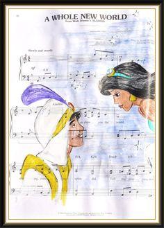 aladdin: music manuscript by *cattybonbon Disney Pixar, Disney Songs, Disney Music, Disney Animation, Disney And Dreamworks, Disney Art, Walt Disney, Disney Characters, Disney Princesses
