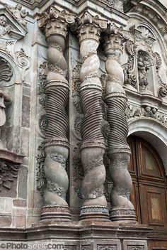 spiral columns of a church in Quito, Ecuador