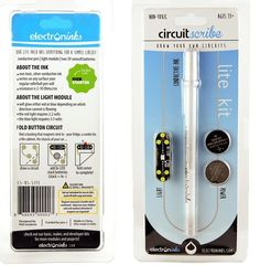 These Circuit Scribe kits use conductive ink to create a circuit that lights up an LED light. There are a variety of kits at different price points, but the Lite Kit comes with a Circuit Scribe pen, an LED module, and batteries. The roller pen has conductive ink containing silver, which conducts electricity from the batteries when drawn on paper.