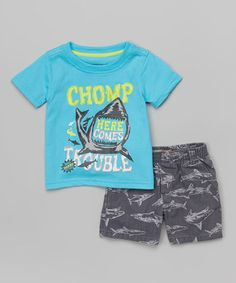 Loving this Blue 'Chomp' Shark Tee & Gray Boardshorts - Infant, Toddler & Boys on #zulily! #zulilyfinds