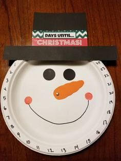 Countdown to Christmas paper plate Snowman