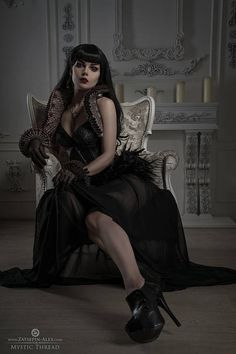 Elizabethan collar & cuffs, Black gothic victorian costume underbust corset decorated with black feathers, black roses and Preciosa crystal gems & Black transparent high waist maxi closs skirt Mystic.