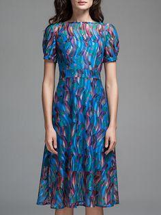 Shop Midi Dresses - Printed A-line Casual Short Sleeve Bateau/boat Neck Midi Dress online. Discover unique designers fashion at StyleWe.com.