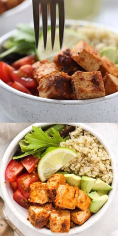 You will love these healthy Chipotle Tofu Quinoa Bowls! This easy recipe is vegan, gluten free, and meal prep friendly. Easy to make and makes a delicious vegetarian lunch or dinner for the week with avocados, tomatoes, and greens! Vegetarian Meal Prep, Healthy Meal Prep, Healthy Eating, Healthy Tofu Recipes, Healthy Food, High Protein Vegetarian Meals, Healthy Student Meals, Eat Clean Recipes, Clean Eating Meals
