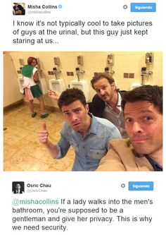 Torcon 2014 - tweets from Misha Collins and Osric Chau - still can't believe Osric let them post these... XD