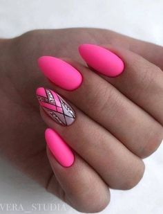 Hot Pink Nails with Stained Glass Design Bright Pink Nails, Neon Nails, Pink Nail Designs, Acrylic Nail Designs, Pink Design, Dream Nails, Love Nails, Style Nails, Gorgeous Nails