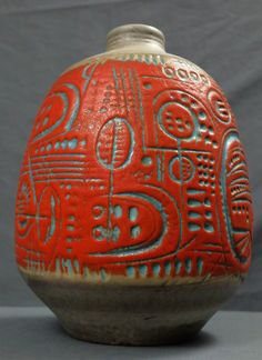 Mid Century Fat Lava Carstens 7087 30 Large Vase Jug Gerda Heuckeroth Mint Cond   eBay