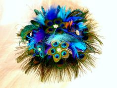 Peacock flower feather bouquet teal blue feather by DressMyWedding
