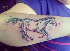 Pretty watercolor horse tattoo by @ julya.art
