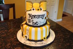 """Mommy to """"Bee"""" — Baby Shower Baby Party, Baby Shower Parties, Baby Shower Themes, Baby Shower Decorations, Shower Ideas, Unisex Baby Shower, Gender Neutral Baby Shower, Baby Gender, Bee Cakes"""