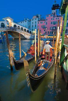 Gondola Stand near the Ponte Rialto, Venice, Italy