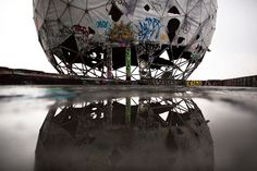 TEUFELSBERG, BERLIN, GERMANY Ruins of a vandalized golf ball shaped cover for antennas, of the abandoned former listening station of the United States National Security Agency, at the Teufelsberg in Berlin. The listening station - which was active until the early nineties - is now used by graffiti artists and can be visited only with guided tours.