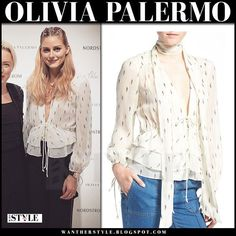 Olivia Palermo in sheer ivory print silk peplum top at Nordstrom Chelsea28 event in Chicago on September 8 | I want her style | Bloglovin'