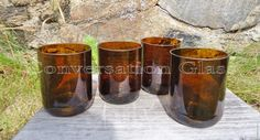 Beer Bottle Glasses Large Brown 16 oz by ConversationGlass on Etsy