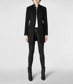 Womens Valley Coat (Black) | ALLSAINTS.com | SIZING: UK 4/US 0: 30/23/33 (bust/waist/hips)