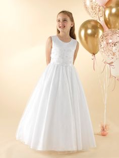 LWCD42 Communion Dress Holy Communion Dresses, First Holy Communion, Little White, Bodice, Tulle, Flower Girl Dresses, Sequins, Wedding Dresses, Lace