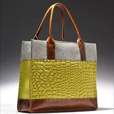 Pistachio alligator embossed and grey felt, tan leather. Made of 100 merino… Fashion Handbags, Purses And Handbags, Fashion Bags, Leather Handbags, Burberry Handbags, Sacs Design, Fabric Bags, Beautiful Bags, Handmade Bags
