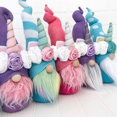 Cute unicorn gnomes in all colors! Make your own handmade unicorn gnome like this one with our DIY gnome patterns and tutorials! Spring Crafts, Easter Crafts, Holiday Crafts, Fun Crafts, Diy And Crafts, Unicorn Diy, Rainbow Unicorn, Gnome Ornaments, Diy Ostern