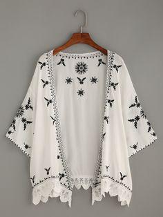 Negozio Kimono Ricamato Rifilato Uncinetto A Smerlo - Bianco on-line. SheIn offre Kimono Ricamato Rifilato Uncinetto A Smerlo - Bianco & di più per soddisfare le vostre esigenze di moda.