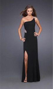 Elastice Satin One Shoulder Beaded Split Front Prom / Evening Dress