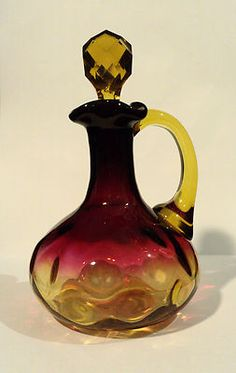 "19th C MT Washington Amberina American Art Glass Cruet ""Inverted Thumbprint"""