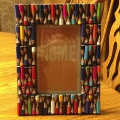 Colored pencil frame DIY:)