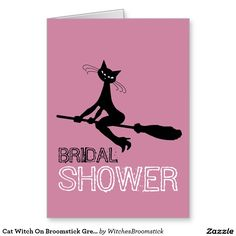 Cat Witch On Broomstick Greeting Card