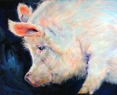 """MY PINK PIG LUCKY DAY"" by Marcia Baldwin: My lucky pink pig series.. this cute was the sweetest pink hues. The original was sold in 2007, but I have continued to enjoy painting him as commission orders, oil paintings on canvas. You may ord..."
