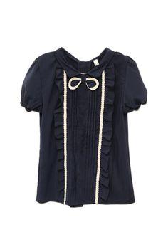 Retro Collar Bowknot Dark Blue Shirt [NCSHI0131] - $31.99 :