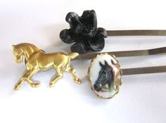Equestrian Hair Accessories Horse Bobby Pins by PlumePretty, $18.00