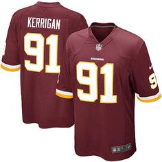 The officially licensed Nike NFL Elite Youth Washington Redskins #91 Ryan Kerrigan Team Color Jersey provides ultimate breathability so you can enjoy the superior comfort while rooting for your favorite player. This Nike NFL Elite Youth Washington Redskins #91 Ryan Kerrigan Team Color Jersey is constructed with water-repelling fabric to keep you dry and with a tailored fit to keep you comfortable.$79.99