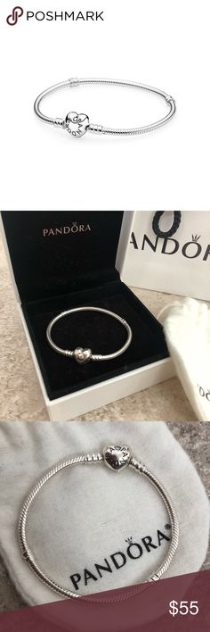 Pandora silver charm bracelet with Heart clasp Pandora silver charm bracelet with Heart clasp. Size 6.5. BRAND NEW. NEVER USED. NO SCRATCHES. Save money. Original is $65. Bought in Florida Mall. Includes box, dust bag and gift bag. Pandora Accessories