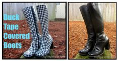 Duck Tape Covered Boots-How to waterproof your old boots